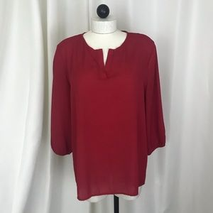 Pleione Red 3/4 sleeve Large blouse